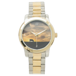 Cattle Sunset Silhouette Wristwatch