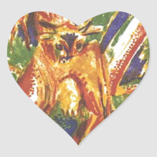 Cattles under a Rainbow by Ernst Ludwig Kirchner Heart Sticker