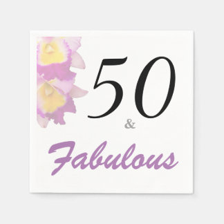 Cattleya Orchid 50th Birthday Party Paper Napkins