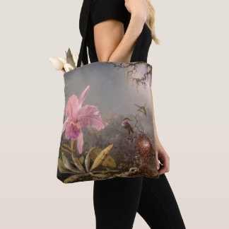 Cattleya Orchid and Three Hummingbirds Tote Bag