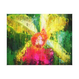 Cattleya Orchid Flower Tropical Impressionist Art Canvas Print