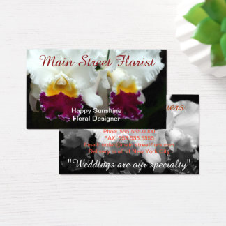 Cattleya Orchid White and Red Flowers Business Card