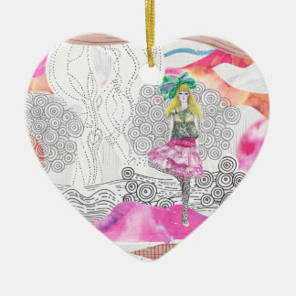 Catwalk Fashion illustration  Heart Ornament