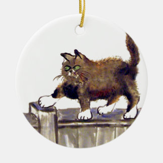 Catwalk - kitty walks on the fence, Sumi-e Ceramic Ornament