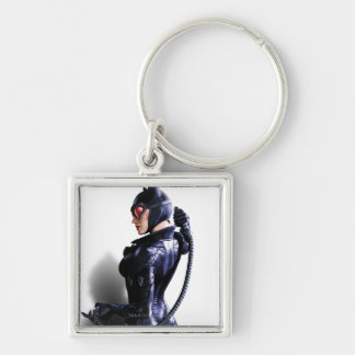 Catwoman 2 Silver-Colored square key ring
