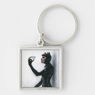 Catwoman Illustration Silver-Colored Square Key Ring