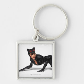 Catwoman Lurking Silver-Colored Square Key Ring