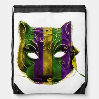 Catwoman Mardi Gras Mask Drawstring Bag