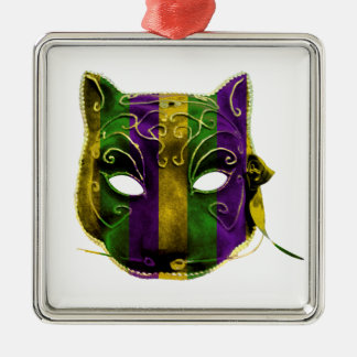 Catwoman Mardi Gras Mask Metal Ornament