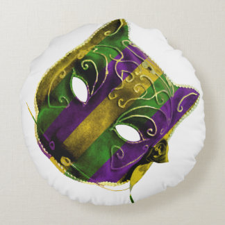 Catwoman Mardi Gras Mask Round Cushion