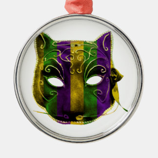 Catwoman Mardi Gras Mask Silver-Colored Round Decoration