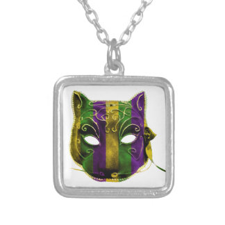 Catwoman Mardi Gras Mask Silver Plated Necklace