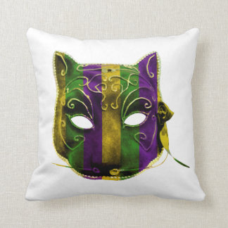 Catwoman Mardi Gras Mask Throw Pillow