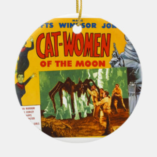 Catwomen on the Moon Ceramic Ornament