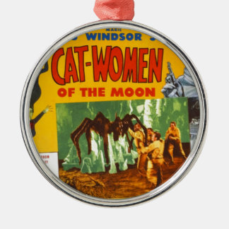 Catwomen on the Moon Metal Ornament