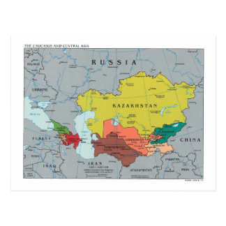 Caucasus and central Asia map Postcard