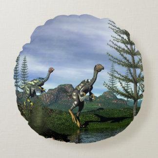 Caudipteryx dinosaurs - 3D render Round Cushion