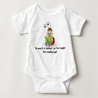 Caught the reading bug mom teacher's baby romper baby bodysuit