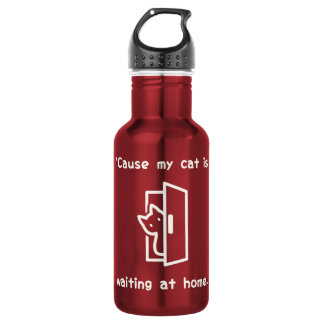 'Cause my cat is waiting at home. (Eng-White) 532 Ml Water Bottle