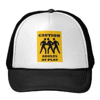 Caution Adults At Play Mesh Hats