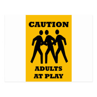 Caution Adults At Play Postcard