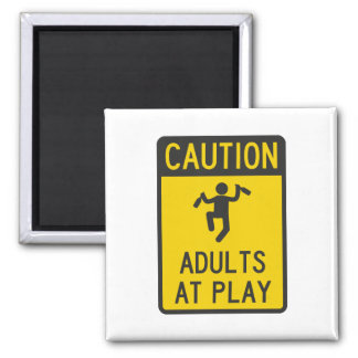 Caution Adults at Play Square Magnet