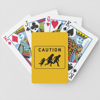 Caution at Crossing, Traffic Warning Sign, USA Bicycle Playing Cards
