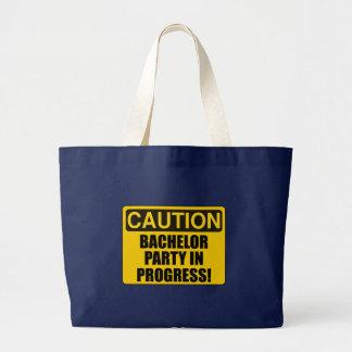 Caution Bachelor Party Progress Large Tote Bag