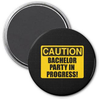 Caution Bachelor Party Progress Magnet