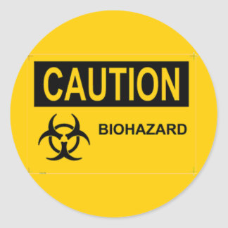 CAUTION Biohazard Classic Round Sticker
