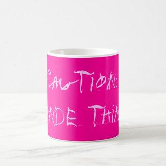 Caution: blonde thinker coffee mug