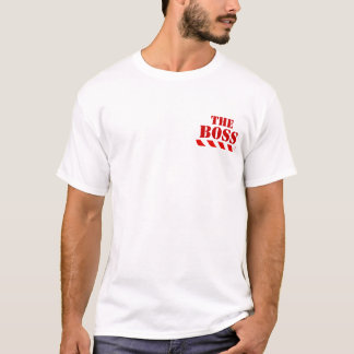 Caution BOSS warning stripes red and white t-shirt