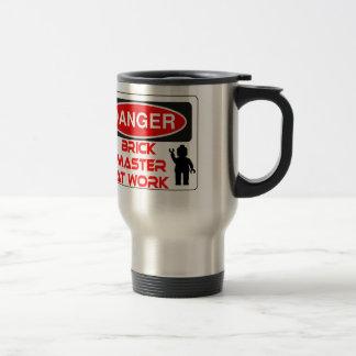 CAUTION BRICK MASTER AT WORK by Chillee Wilson Travel Mug