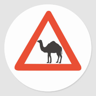 Caution Camels, Traffic Sign, United Arab Emirate Classic Round Sticker