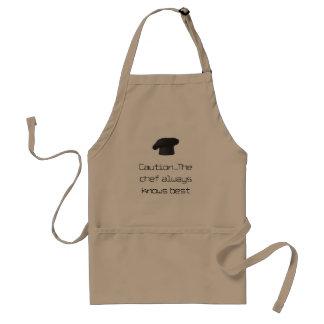 caution chef always knows best apron