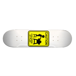Caution Children at Play - Table saw 20 Cm Skateboard Deck