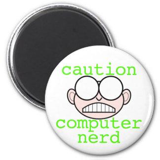 Caution: Computer Nerd 6 Cm Round Magnet