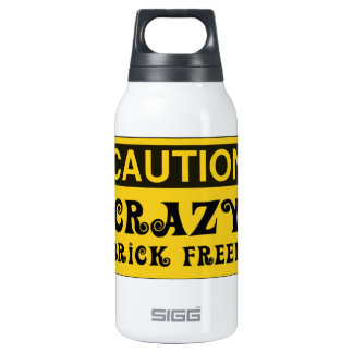 CAUTION CRAZY BRICK FREEK by Customise My Minifig Insulated Water Bottle
