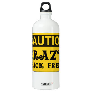 CAUTION CRAZY BRICK FREEK by Customise My Minifig Water Bottle