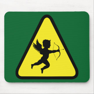 Caution: Cupid Mouse Pad