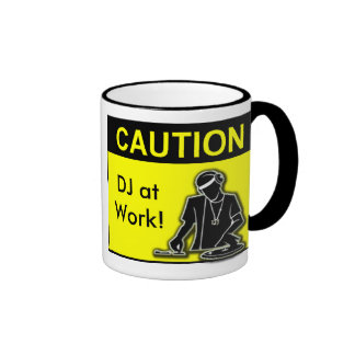 Caution DJ at Work Mugs