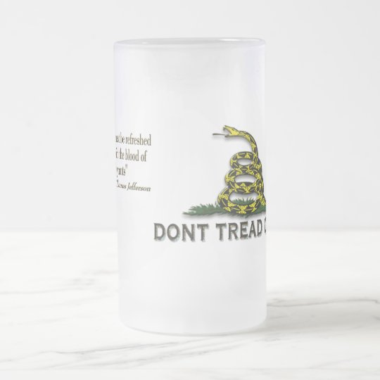 "CAUTION ""Don't Tread On Me"" FLAG Frosted Glass Beer Mug"