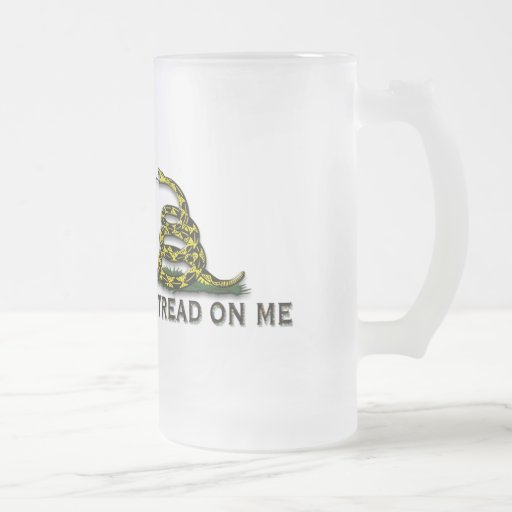 "CAUTION ""Don't Tread On Me"" FLAG Frosted Glass Mug"