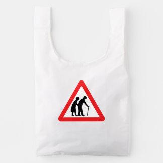 CAUTION Elderly People - UK Traffic Sign Baggu Reusable Bag
