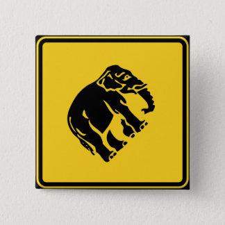 Caution Elephants Crossing ⚠ Thai Road Sign ⚠ 15 Cm Square Badge