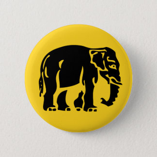 Caution Elephants Crossing ⚠ Thai Road Sign ⚠ 6 Cm Round Badge