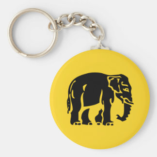 Caution Elephants Crossing ⚠ Thai Road Sign ⚠ Basic Round Button Key Ring