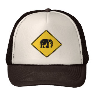 Caution Elephants Crossing ⚠ Thai Road Sign ⚠ Trucker Hats