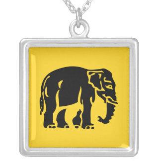 Caution Elephants Crossing ⚠ Thai Road Sign ⚠ Square Pendant Necklace