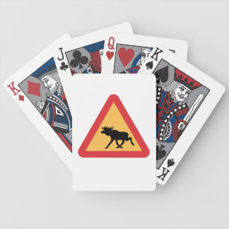 Caution Elks, Traffic Sign, Sweden Bicycle Playing Cards
